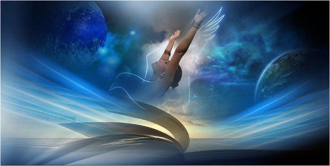 Фото Девушка и контур птицы на фоне абстракции и неба с планетами