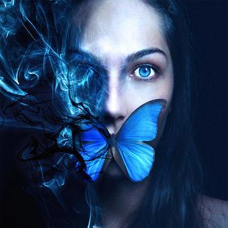 Фото Девушка с бабочкой на губах, by eikoweb