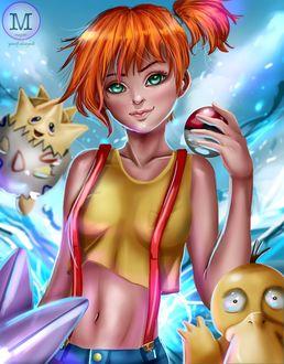 Фото Misty / Мисти, Togepi / Тогипи и Psyduck / Псидак из аниме и игры Покемон / Pokemon, by magato98