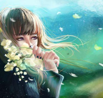 Фото Девушка с весенними цветами в руке, by rei-kaa