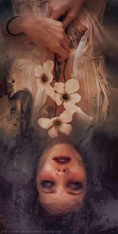 Фото Девушка с белыми цветами лежит вверх ногами, by Peter Brownz Braunschmid