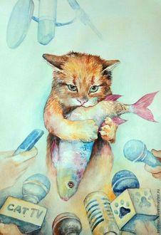 Фото Рыжий кот держит рыбу в зубах и лапах, окруженный журналистами, тянущими к нему микрофоны (CAT TV)