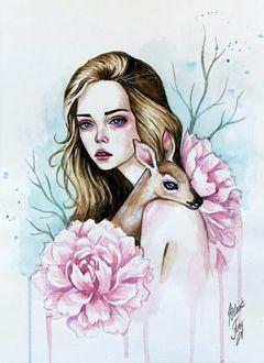 Фото Девушка с большими розовыми цветами обнимает олененка, на фоне голых ветвей деревьев, art by black fury