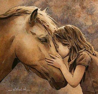 Фото Девочка целует морду коня, by O. Violin