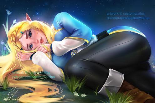 Фото Princess Zelda / Принцесса Зельда из игры Zelda no Densetsu / Skyward Sword ночью лежит на земле, by customwaifus