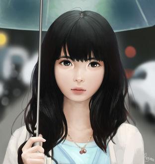 Фото Темноволосая девушка-азиатка с зонтом на улице города, by reijubv