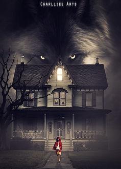Фото Красная шапочка с корзинкой стоит перед домом, над которым огромный волк, by CharllieeArts