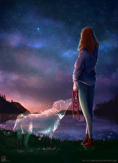 Фото Девушка с поводком в руке и рядом присутствующим духом своей любимой собаки стоит на фоне ночного неба, by Craftea
