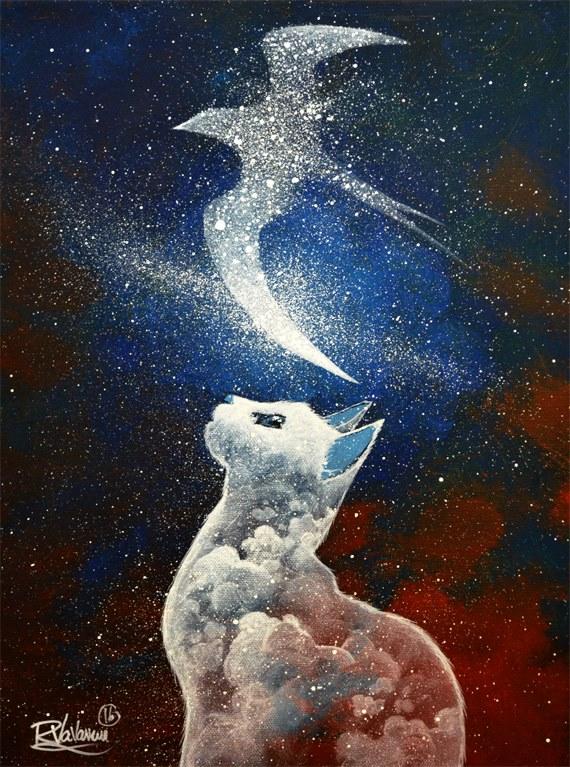 Фото Над облачным котом пролетает в небе ласточка, by Raphael Vavasseur