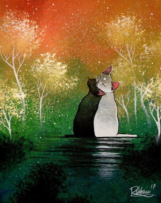 Фото Влюбленная пара котов сидит у воды, by Raphael Vavasseur
