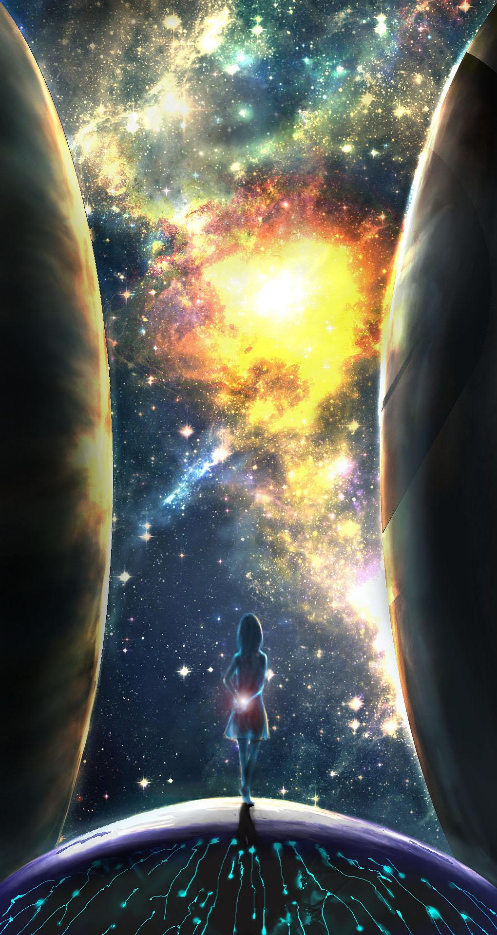 Фото Девушка стоит на фоне космоса