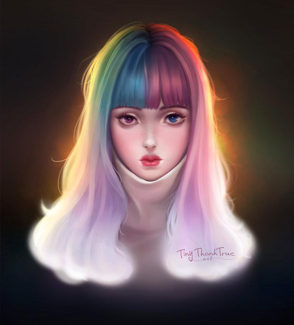 Фото Девушка с разного цвета волосами и глазами, by TiNyThanhTruc