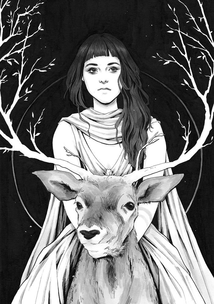Фото Девушка сидит верхом на олене, by DjamilaKnopf