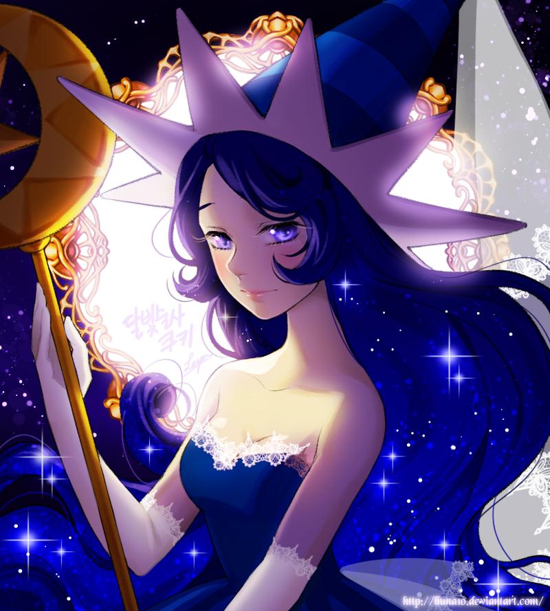 Фото Девушка со звездными волосами держит в руках золотой посох, by leyalluna
