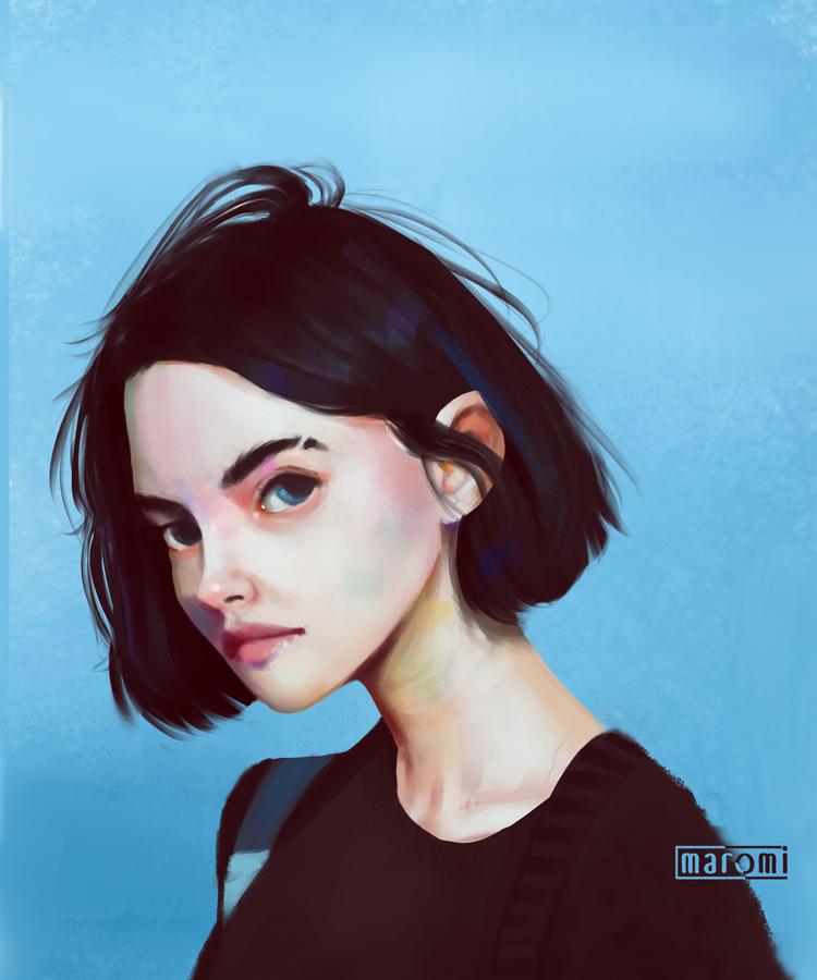 Фото Темноволосая девушка на голубом фоне, by MaromiSagi