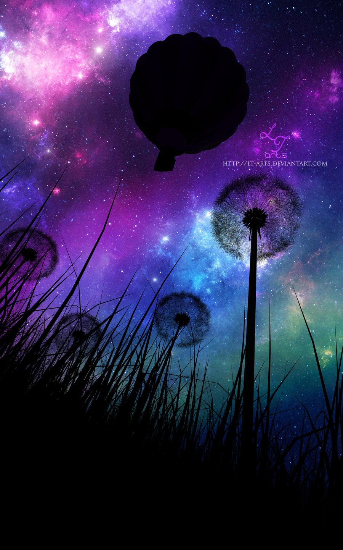 Фото Одуванчики в траве на фоне ночного неба, в котором летит воздушный шар, by LT-Arts