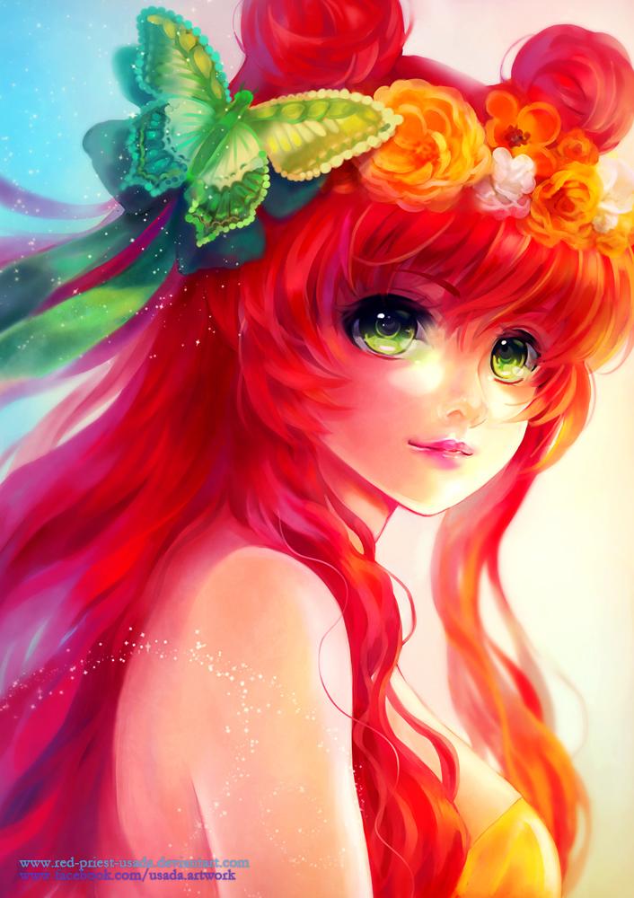 Фото Зеленоглазая девушка с цветами и бабочкой в ярко-красных волосах, by Red-Priest-USADA