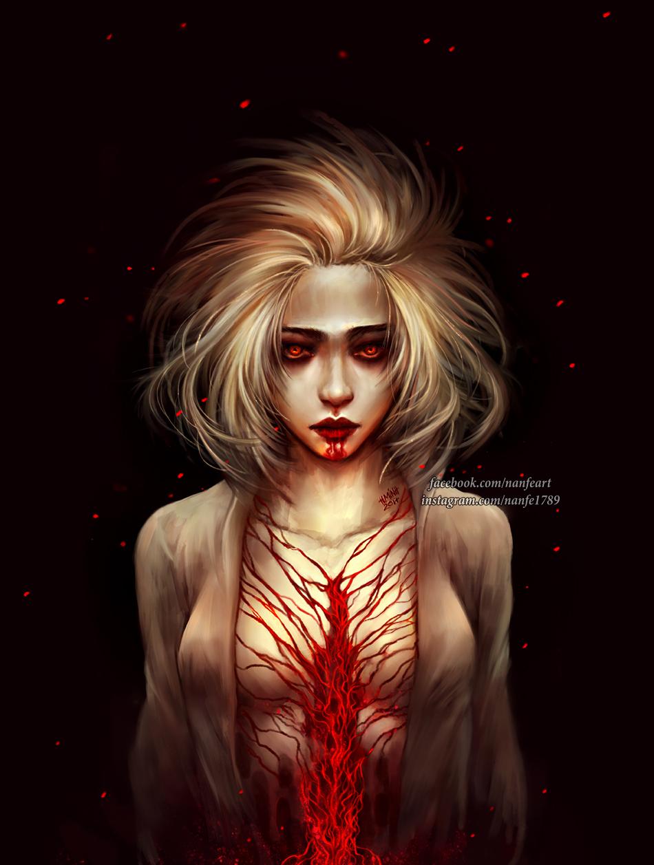 Фото Девушка с кровью на лице и теле, by NanFe