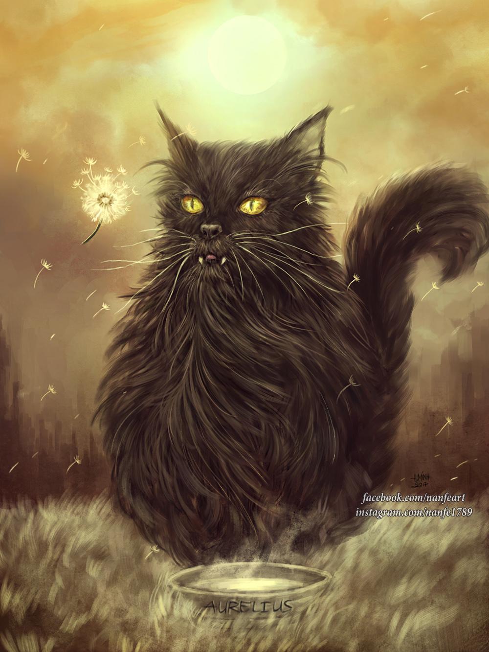 Фото Черный пушистый кот с янтарными глазами и внушительными клыками сидит возле миски, by NanFe