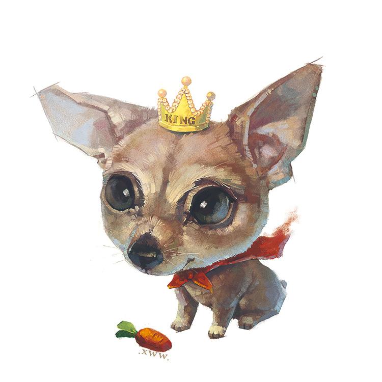 Фото Чихуахуа в короне сидит перед морковкой (KING)