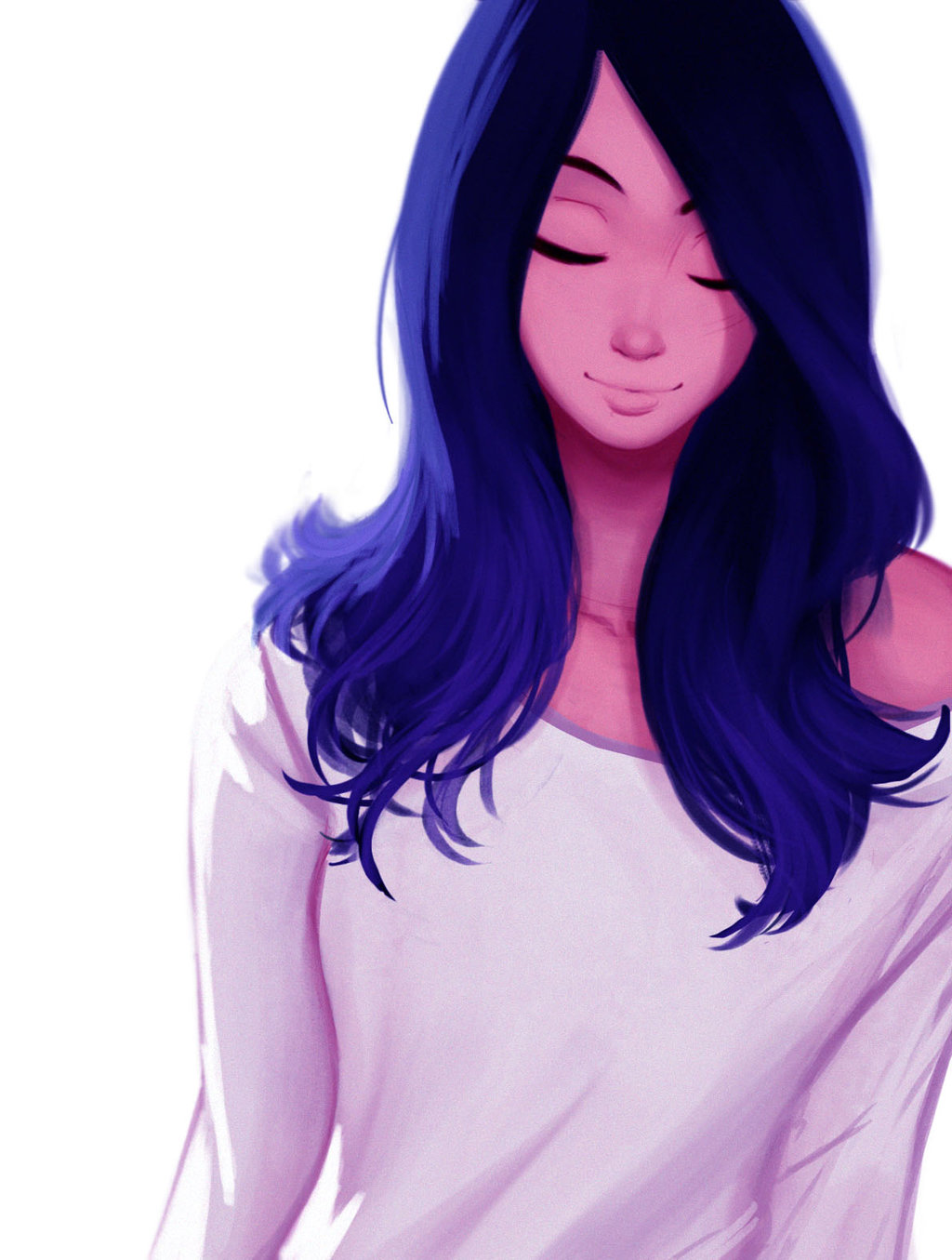 Фото Девушка с синими волосами и в белой кофточке, by Raichiyo33