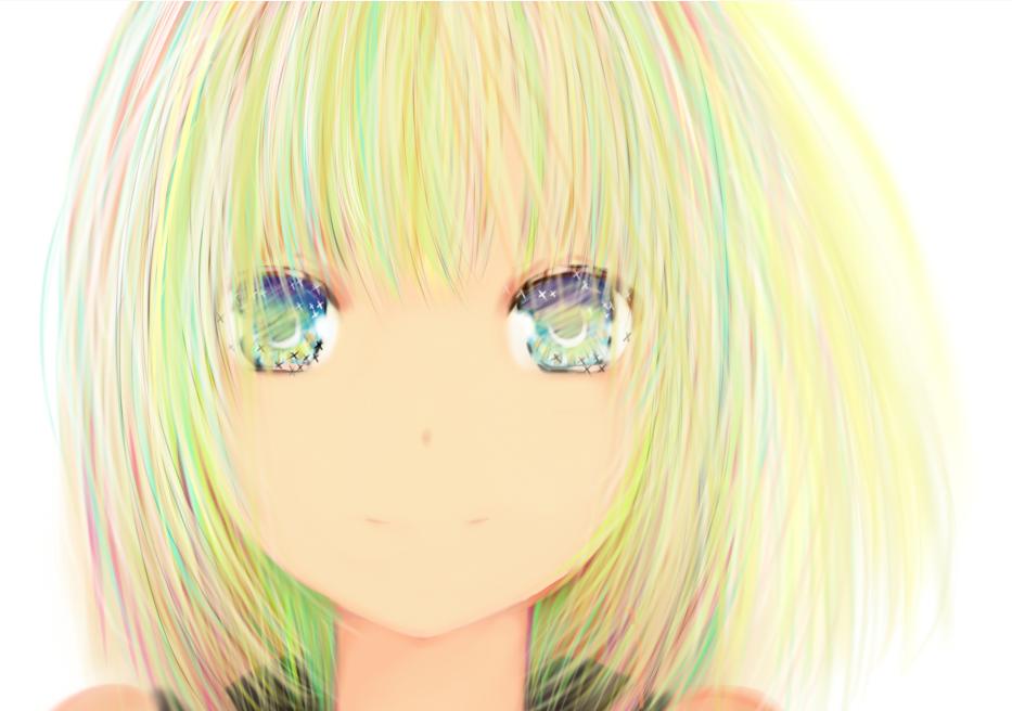 Фото Анимешная девушка с разноцветными волосами, by M. T