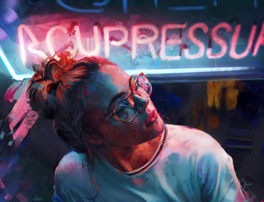 Фото Девушка в очках на фоне неоновой вывески, by AaronGriffinArt