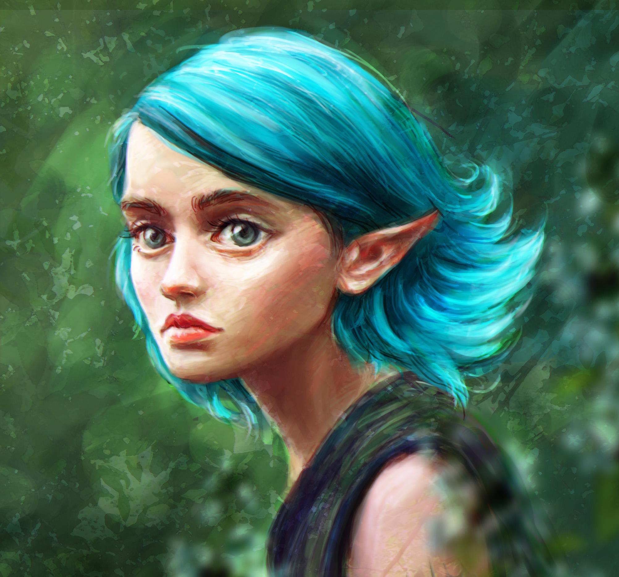 Фото Эльфийка с голубыми волосами, by kroriki