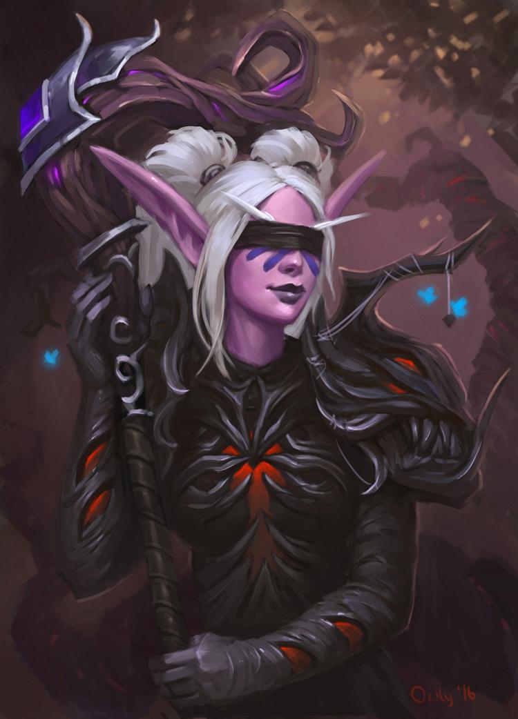 Фото Ночная эльфийка друид с посохом в руках и повязкой на глазах / арт на игру World of Warcraft, by lowly-owly