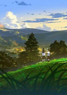 Фото Две школьницы на зеленом холме, by loundraw