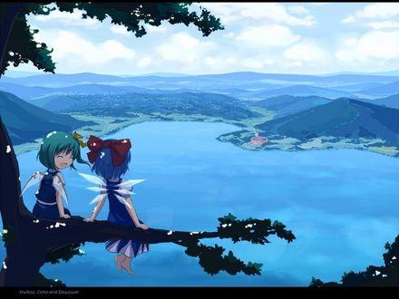 Фото Ледяная фея Чирно / Cirno и Daiyousei сидят на ветке высокого дерева и любуются видом на реку из игры Проект Восток / Тохо / Touhou Project