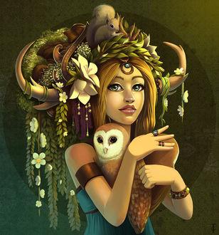 Фото Девушка с рогами в цветах держит в руках сову, а на голове сидит белочка, by TLCook