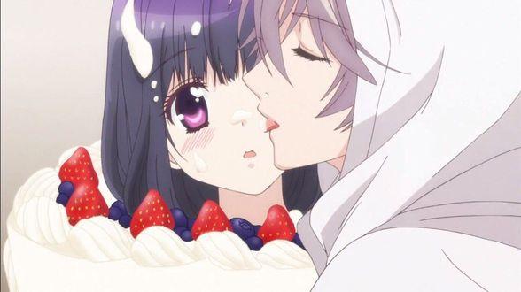 Фото Канадэ ест тортик с Кахо, кадр из аниме Моя первая любовь — монстр / Hatsukoi Monster