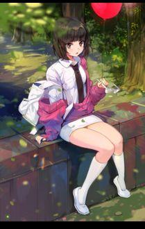 Фото Девочка с красным шариком в руке сидит на заборчике, by bosack