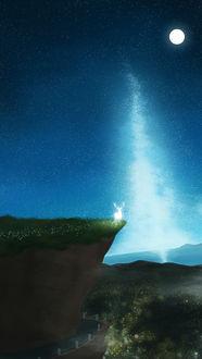 Фото Олень стоит на обрыве на фоне ночного неба, by DyT