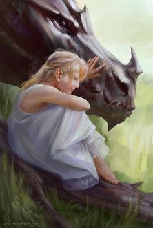 Фото Эльфийка в белом платье сидит на бревне возле дракона, by ArvL