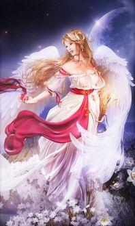 Фото Девушка-ангел в белых цветах на фоне космоса