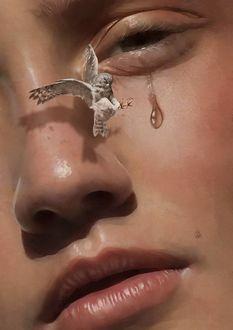 Фото Перед огромным девичьим лицом со сбегающей из глаза слезой летит маленькая сова, by Aykut Aydogdu