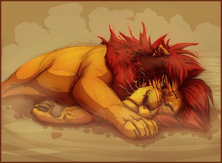 Фото Лев Муфаса / Mufasa лежит на земле, арт к мультфильму Король лев / The Lion King