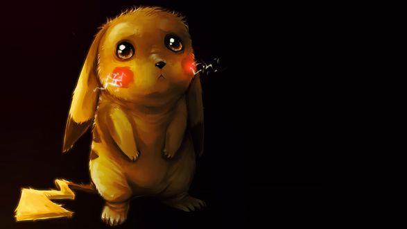 Фото Грустный Пикачу / Pikachu на темном фоне