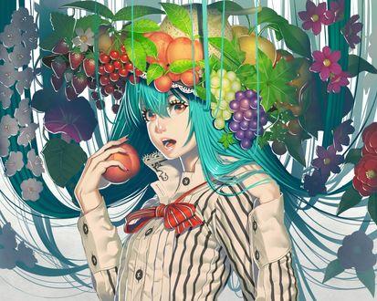 Фото Тэнши Хинанави / Tenshi Hinanawi с персиком в руке и в шляпе с фруктами на голове из аниме Тохо Ибаракасэн: Дикий и рогатый отшельник / Touhou Ibara Kasen: Wild and Horned Hermit, by Ogino