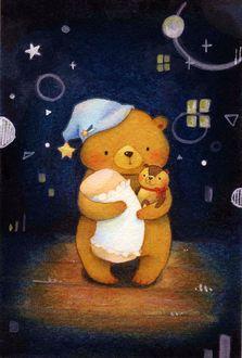 Дочери спокойной, картинки спокойной ночи с мишкой и зайкой
