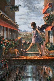 Фото Девочка с крыльями за спиной шагает по сооружению между домами к рыжим котам