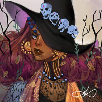 Фото Девушка-ведьма, шляпу которой украшают черепа, by Afternoontm (© chucha), добавлено: 14.07.2017 06:54