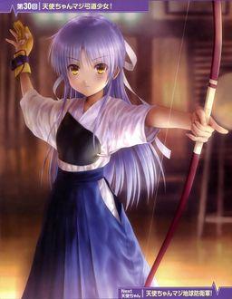 Фото Канадэ Татибана / Kanade Tachibana тренируется в стрельбе из лука из аниме Ангельские ритмы! / Angel Beats, art by Goto-p