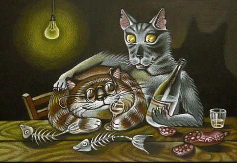 Фото Пьяное застолье волка с котом (Ты меня уважаешь), художница Белова Ася