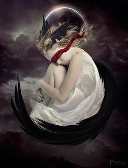 Фото Девушка-ангел в белом с красной повязкой на глазах на фоне луны, by ParadisiacPicture
