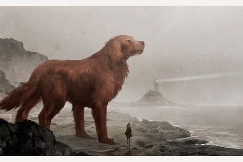 Фото Девушка и огромная собака стоят на берегу и смотрят в море, в тумане виден маяк, направляющий свой луч света в сторону моря, by sandara