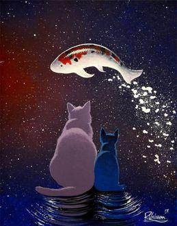 Фото Кошка и котенок смотрят на рыбу в небе, by Raphael Vavasseur