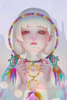 Фото Белокурая девушка с красными глазами держит в руках ловец снов, by webang111